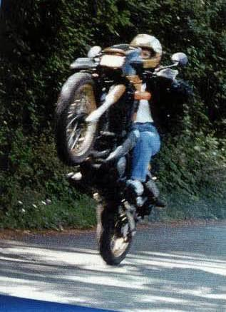 motorcycle wheelie kathy Hubble
