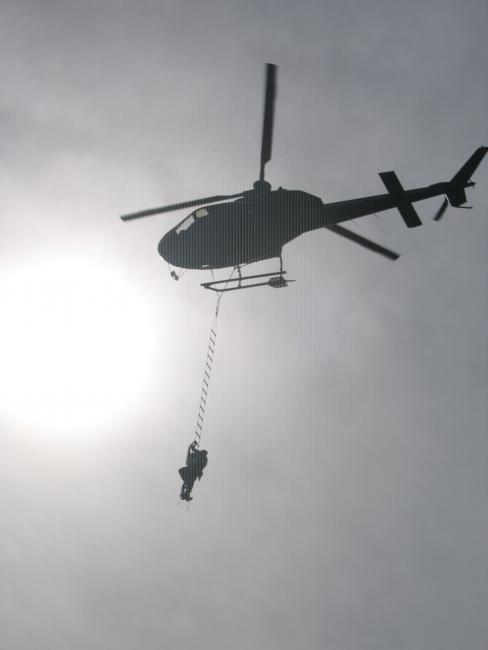 Hanging from Helicopter