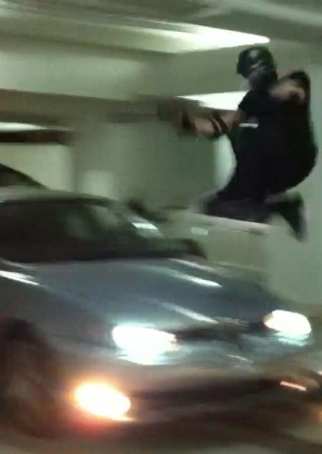 Jumping over moving car