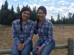 Actress Alisha Newton and Calgary-based stuntwoman Sally Bishop on the set of Heartland.